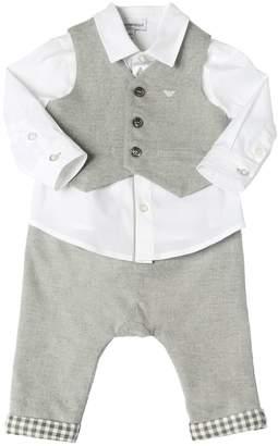 Emporio Armani Poplin Shirt Flannel Vest & Pants
