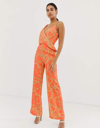 5c9849c4f94 4th Reckless 4th   Reckless flared leg chain print jumpsuit in orange