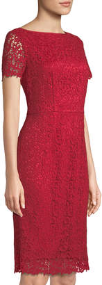 Lafayette 148 New York Short-Sleeve Lace Sheath Dress