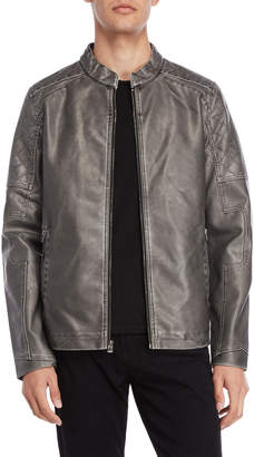 X-Ray X Ray Grey Faux Leather Moto Jacket