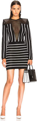 Balmain Mesh Detail Striped Mini Dress