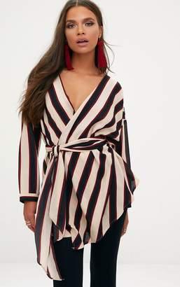 5e59054a8b1b0 PrettyLittleThing Khaki Bold Stripe Tie Waist Blouse