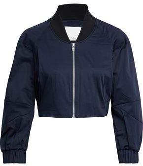 Tibi Cropped Stretch-Cotton Satin Bomber Jacket