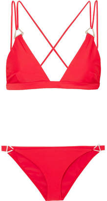 Dion Lee Tri Lock Embellished Triangle Bikini - Crimson