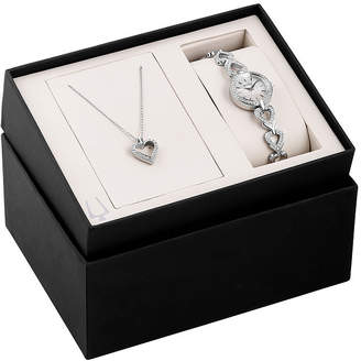 Bulova Womens Silver-Tone Watch and Pendant Necklace Heart Box Set 96X136