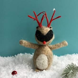 The Christmas Home Wool Racoon Christmas Decoration
