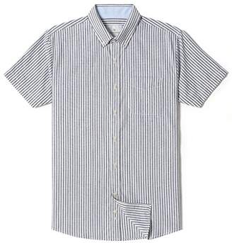 Chain Stitch Mens Short Sleeve Washed Cotton Stripe Casual Button-Down Shirt