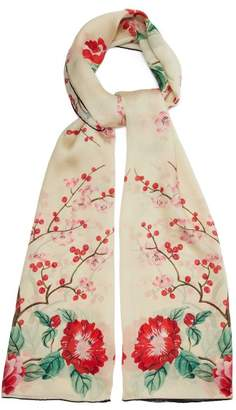 Alexander McQueen Floral Print Silk Chiffon Scarf - Womens - Cream Multi