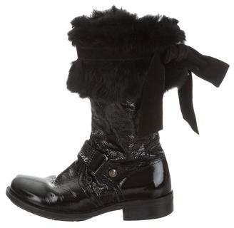 Blumarine Girls' Fur-Trimmed Patent Leather Boots