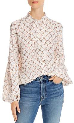 7 For All Mankind Printed Tie-Neck Blouse