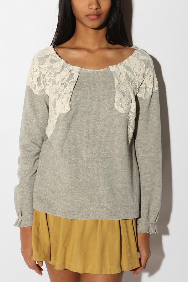 Pins and Needles Lace Trim Sweatshirt