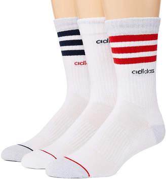 adidas Core Stripe 3 Pair Crew Socks-Mens