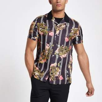 River Island Purple dragon stripe revere shirt