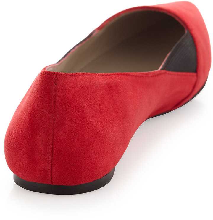 Steve Madden Steven by Elliee Suede Pointy Flat, Red