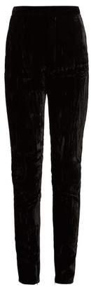 Saint Laurent High Rise Crushed Velvet Trousers - Womens - Black