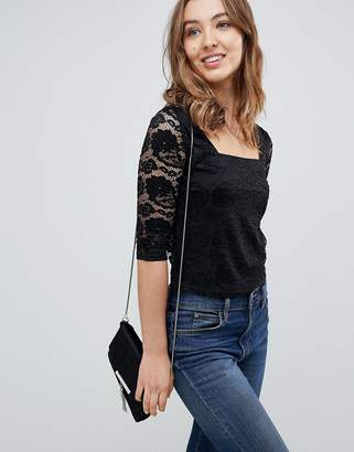 Qed London QED London 3/4 Sleeve Lace Top