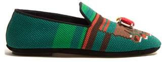 Loewe Toes Embroidered Cotton Loafers - Womens - Green Multi