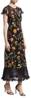RED Valentino Macrame Floral Maxi Dress