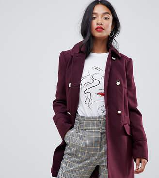 Miss Selfridge Petite swing coat in burgundy