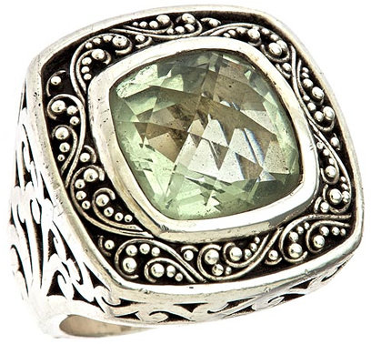 Lois Hill Green Amethyst Square Cocktail Ring