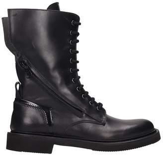 Bruno Bordese Black Leather Combat Boots