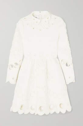 Valentino Appliquéd Laser-cut Crepe Mini Dress - Ivory