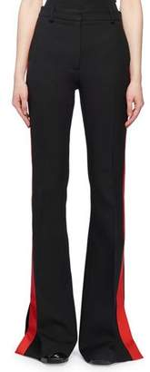 Alexander McQueen High-Waist Flared-Leg Wool Suiting Pants w/ Contrast Tux Stripe