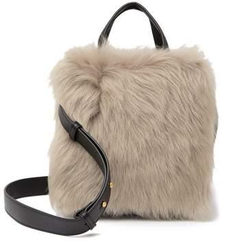FLYNN Ebonnie Genuine Dyed Lamp Fur Shoulder Bag Tote