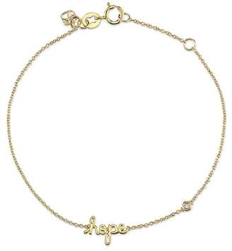 Sydney Evan Syd by 14K Yellow Gold Plated Sterling Silver Diamond 'Hope' Bracelet - 0.015 ctw
