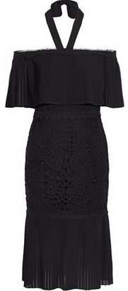 Temperley London Off-The-Shoulder Voile-Paneled Macramé Midi Dress
