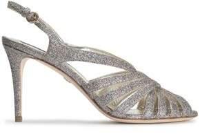 Roberto Cavalli Cutout Glittered Leather Sandals