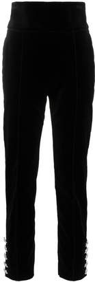 Alexandre Vauthier high waisted crystal button cotton velvet trousers