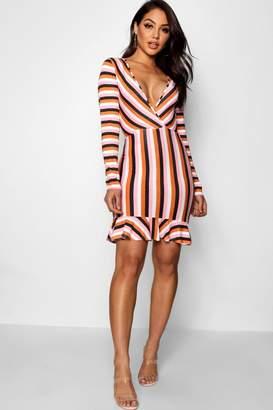 boohoo V Neck Stripe Ruffle Hem Bodycon Dress