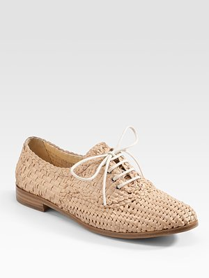 Prada Woven Leather Lace-Up Oxfords