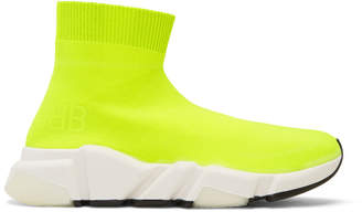 Balenciaga Yellow BB Speed High-Top Sneakers