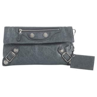 Balenciaga Envelop Green Leather Clutch Bag