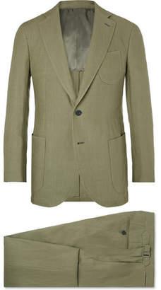 P. Johnson Olive Slim-Fit Linen Suit
