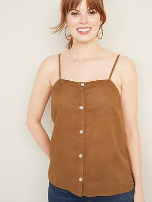 Old Navy Linen-Blend Button-Front Cami for Women