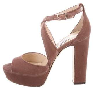 Jimmy Choo Velvet Platform Sandals