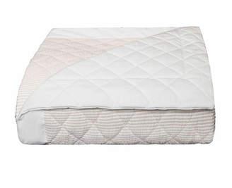 Bovi Fine Linens Baby Seersucker Crib Coverlet, White/Taupe