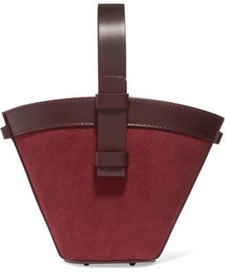 Nico Giani - Nelia Mini Leather And Suede Bucket Bag - Burgundy