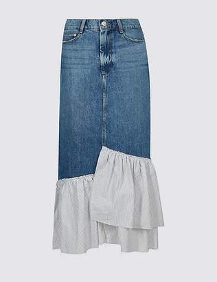 Marks and Spencer Pure Cotton Striped Frill Denim Midi Skirt