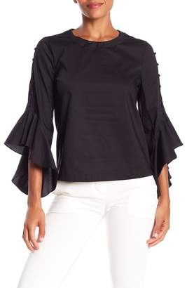 Laundry by Shelli Segal Ruffle Sleeve Poplin Blouse