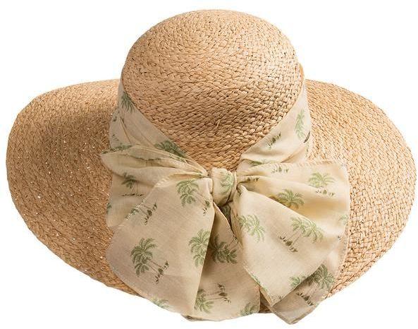 Capelli of New York Resort Straw Hat - Scarf Trim