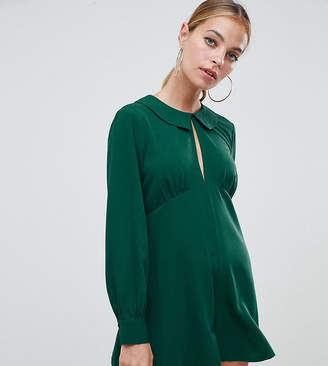 Asos DESIGN Petite tea playsuit with cut out detail and collar