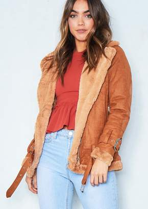 Missy Empire Missyempire Isobel Tan Faux Suede Aviator Jacket