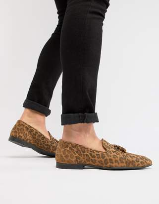 Asos DESIGN loafers in leopard skin effect