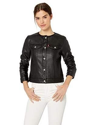 Levi's Women's Faux Leather Collarless Trucker Jacket