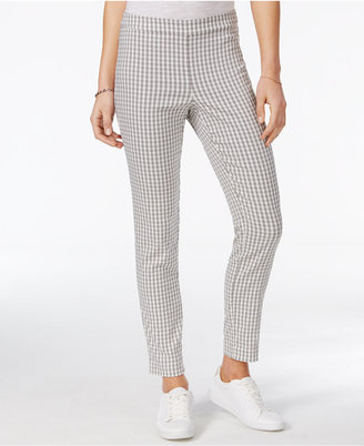 Maison Jules Gingham-Print Pull-On Pants, Created for Macy's $49.50 thestylecure.com