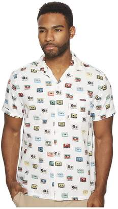 Original Penguin Short Sleeve Cassette Print on Dobby Shirt Men's Short Sleeve Button Up